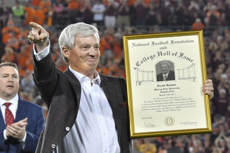 Frank Beamer is inducted into the College Football Hall of Fame.